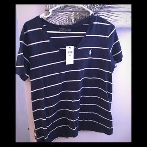 Polo Ralph Lauren blue and white striped tee